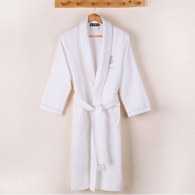 Waffle bathrobe men women cotton terry plus size XL men's robe nightgown ladies sleepwear long soft home hotel spring summer