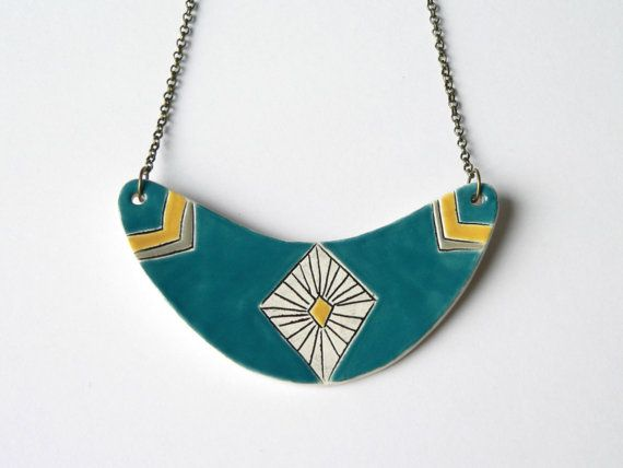 Ceramic necklace geometric statement necklace teal by islaclay