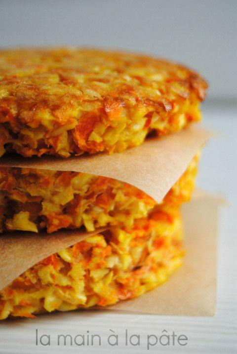 Galettes carottes panais  2 carottes 2 panais 2 oeufs 2 CS de fécule de maïs