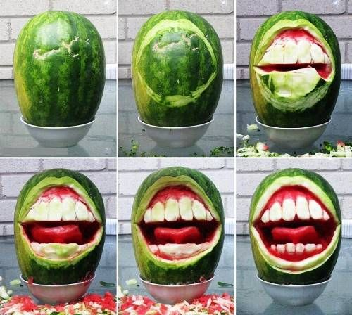 DIY Watermelon sculpture - I really want to try this, but could see it getting very messy....