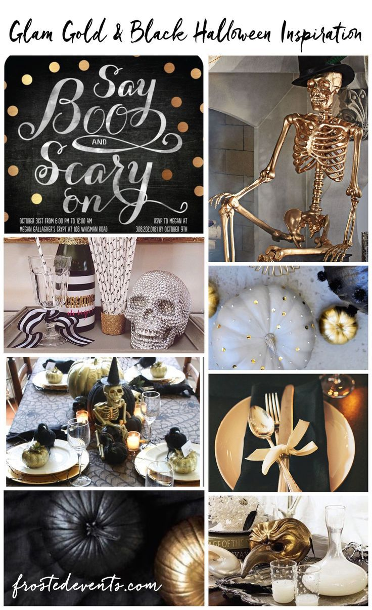 Halloween party ideas, Gold and Glam Halloween Party Themes! Add a gilded touch…