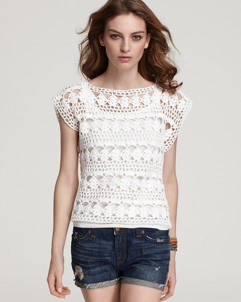 Hooked on crochet: Crochet top / Blusa de crochê