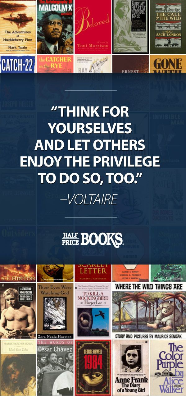 """#BannedBooks that Shaped #America: """"Think for yourselves & let others enjoy the privilege…"""" — #Voltaire; """"Yes, #books are dangerous, they should be dangerous – they contain #ideas."""" — Pete Hautman #quote"""