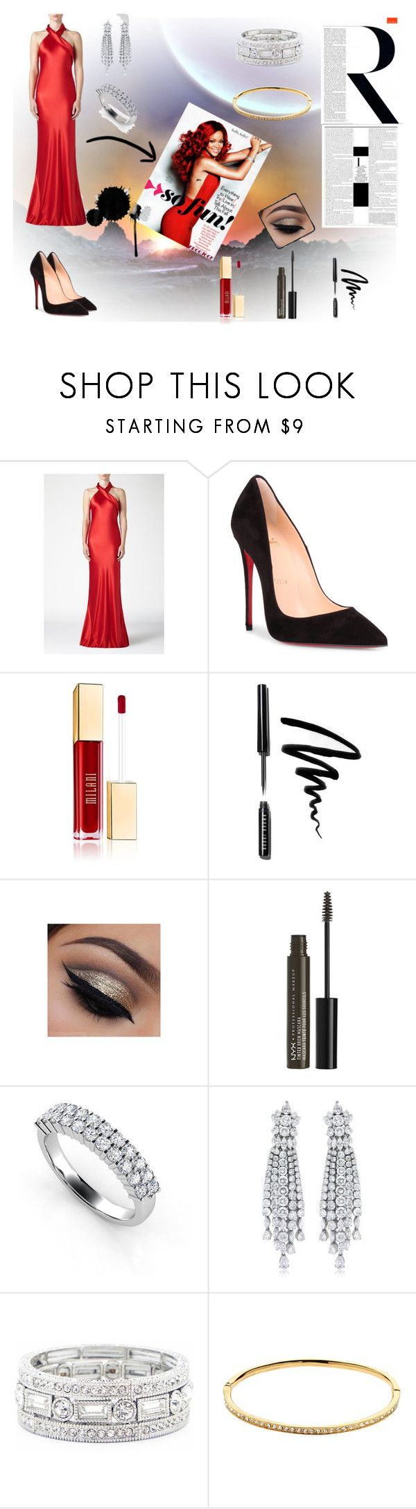 """Red Power-Rihanna Look"" by nermin-truma ❤ liked on Polyvore featuring Galvan, Christian Louboutin, Bobbi Brown Cosmetics, NYX, Ultimate, Sole Society and Melissa Odabash"