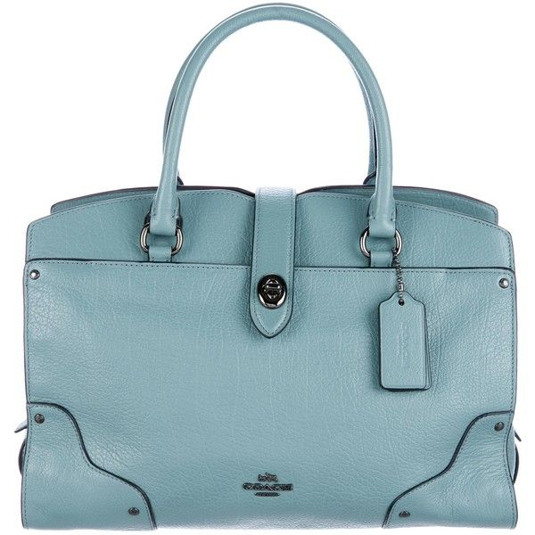Pre-owned Coach Leather Mercer 24 Satchel ($195) ❤ liked on Polyvore featuring bags, handbags, blue, coach satchel, blue leather purse, leather handbags, satchel handbags and satchel purses