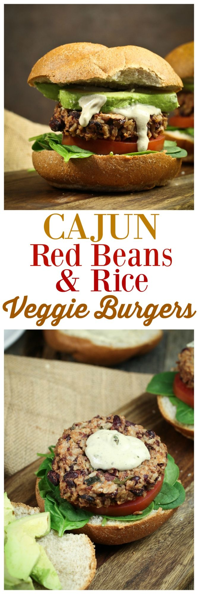 """Red Beans and Rice"" turned into a delicious, healthy, hearty veggie burger! Baked, oil-free and dang good! Topped with a Cajun Cream Sauce!"