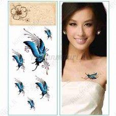 Perhonen siirtotatuointi, sininen