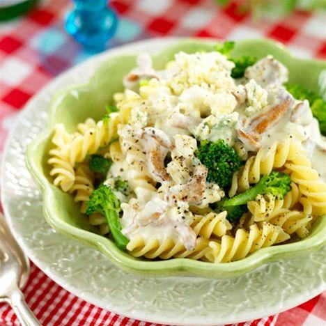 Pasta med svamp och ädelost