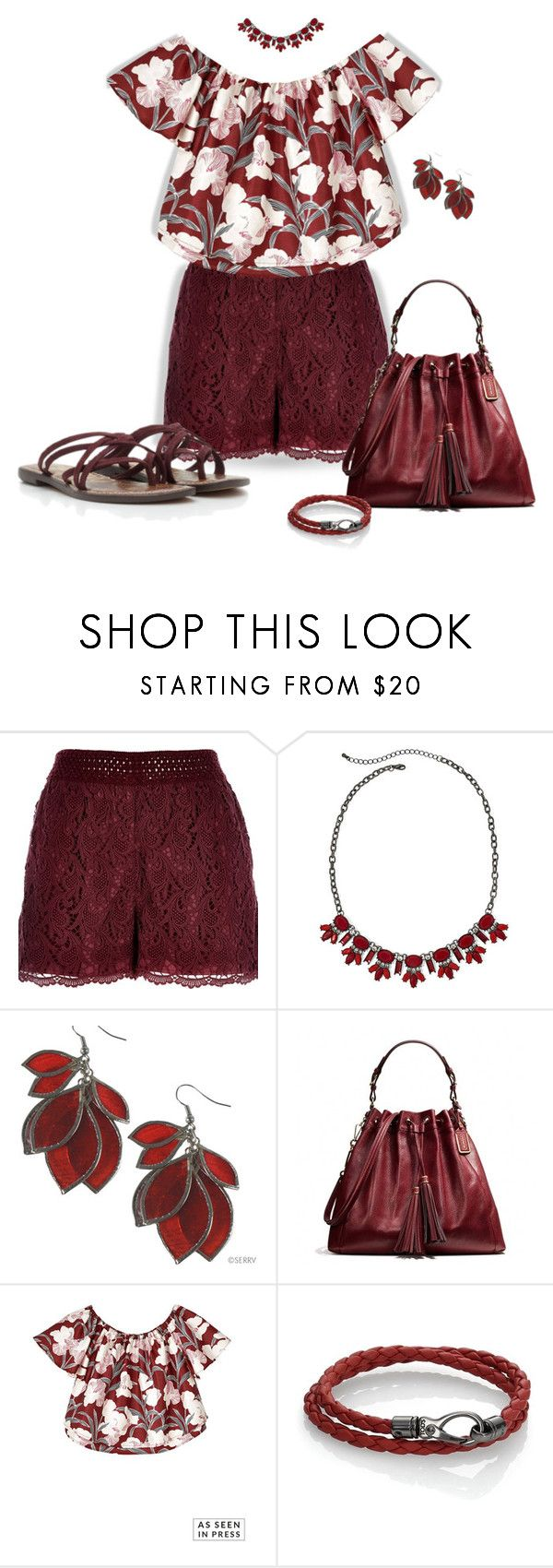 """""""~Lace Shorts~ Maroon ~"""" by justwanderingon ❤ liked on Polyvore featuring River Island, Mixit, Coach, Keepsake the Label and Tod's"""