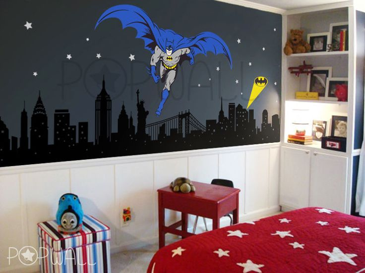 Batman Wall decal Super Hero Cityscape - Avengers Wall sticker for Kids Room #Popwall #modern