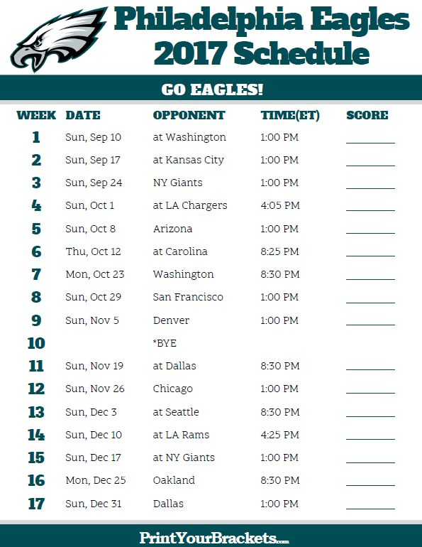 2017 Philadelphia Eagles Football Schedule