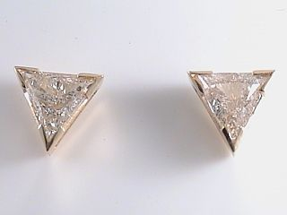 .50 Carat Trilliant Cut Diamond Stud 14Kt Yellow Gold Earrings
