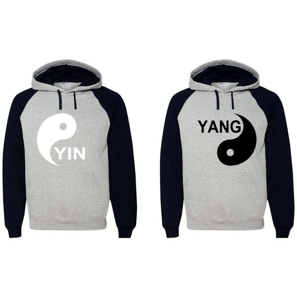 Yin Yang Hoodies Couple Sweatshirts ($50) ❤ liked on Polyvore featuring tops, hoodies, sweatshirts, grey, women's clothing, gray sweatshirt, hooded sweatshirt, grey hooded sweatshirt, grey hoodie and grey hoodie sweatshirt