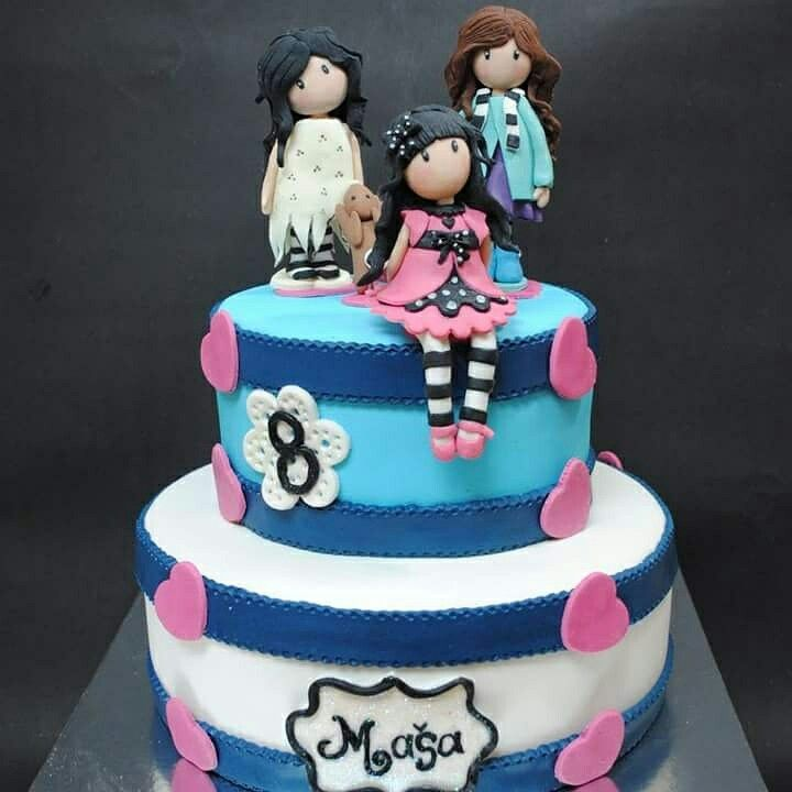 Gorjuss girl cake with handmade toppers