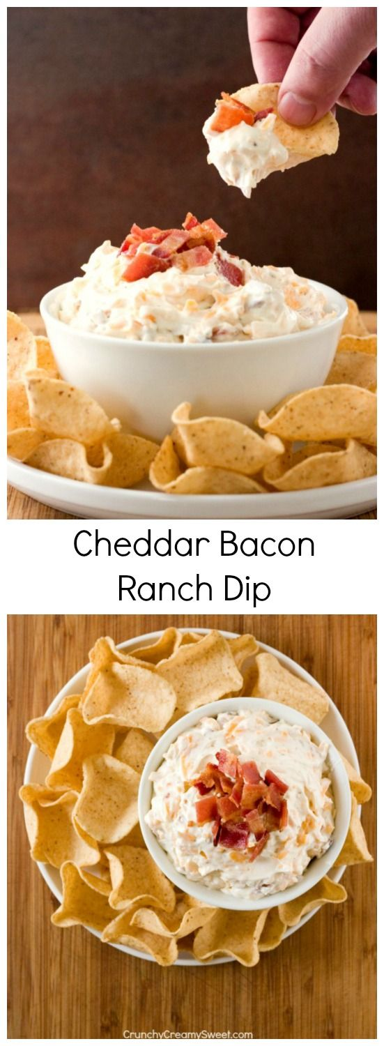 Cheddar Bacon Ranch Dip ~ you only need 5 ingredients to mix this dip up! It's so good and perfect for a game day or a party!