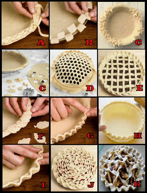 How to make Decorative Holiday Pie Crusts ————————–————– Braided Edge (A) Use for a single-crust pie. Make enough pastry for a double crust. Line a 9-in. pie plate with the bottom pastry and trim...