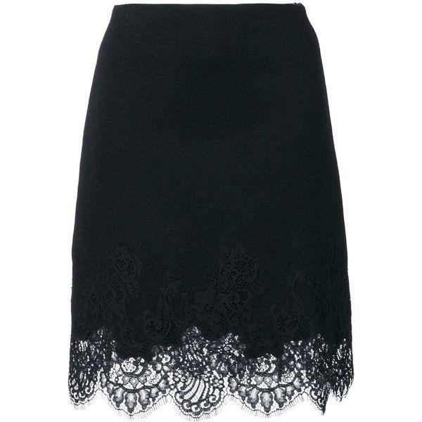 Ermanno Scervino lace trim skirt (2,800 PEN) ❤ liked on Polyvore featuring skirts, black, ermanno scervino and lace trim skirt