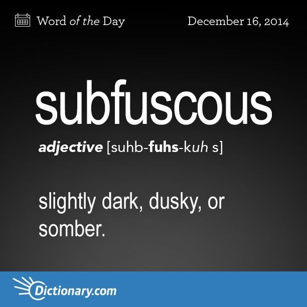 Subfuscous: slightly dark, dusky, or somber