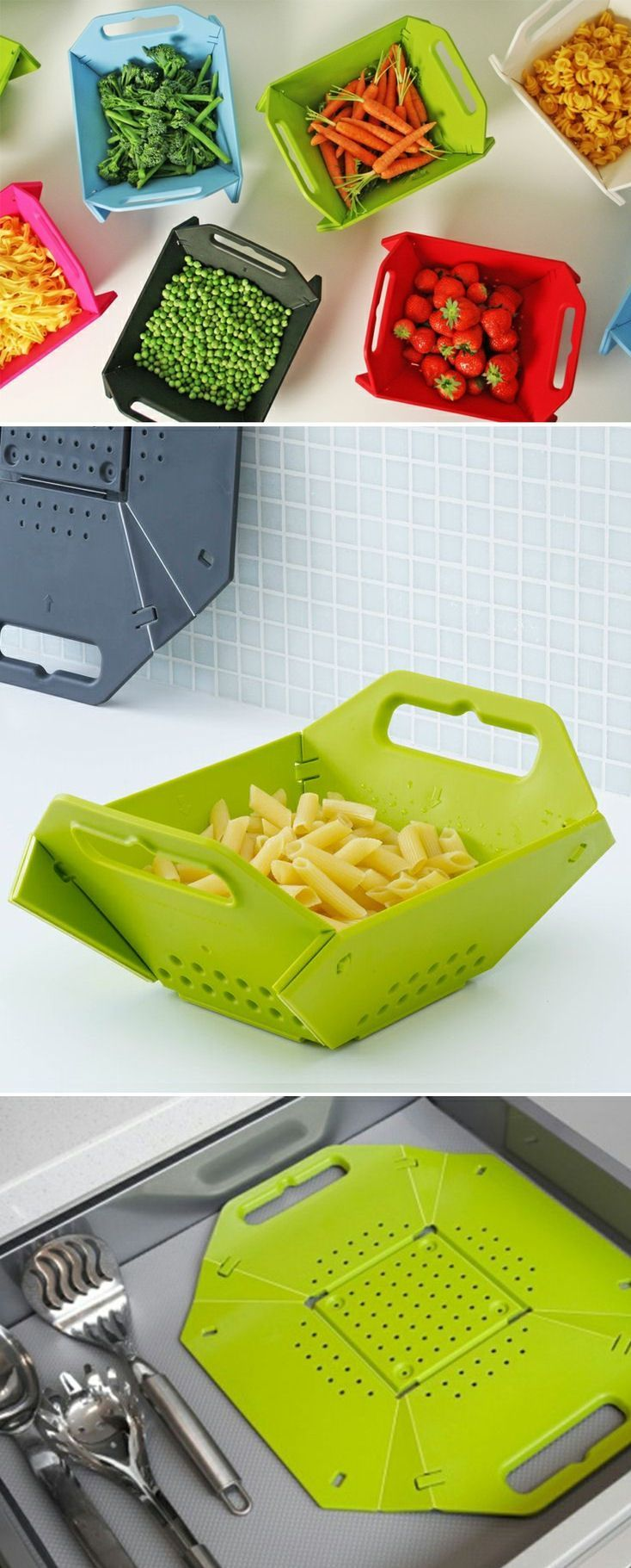 We love this Joseph Joseph Space-Saving Folding Colander that Stores Flat. They have a great range as well. Keep an eye out for them.