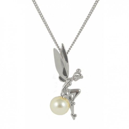 Disney Couture Platinum Plated Tinkerbell on a Pearl Necklace