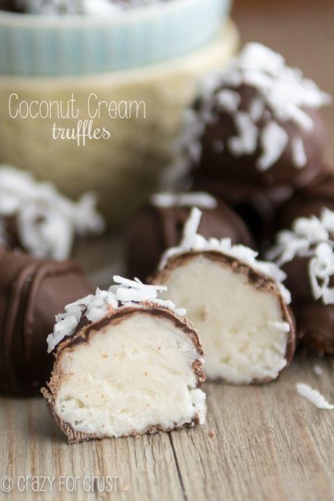 Coconut Cream Truffles | crazyforcrust.com | Triple the coconut flavor!