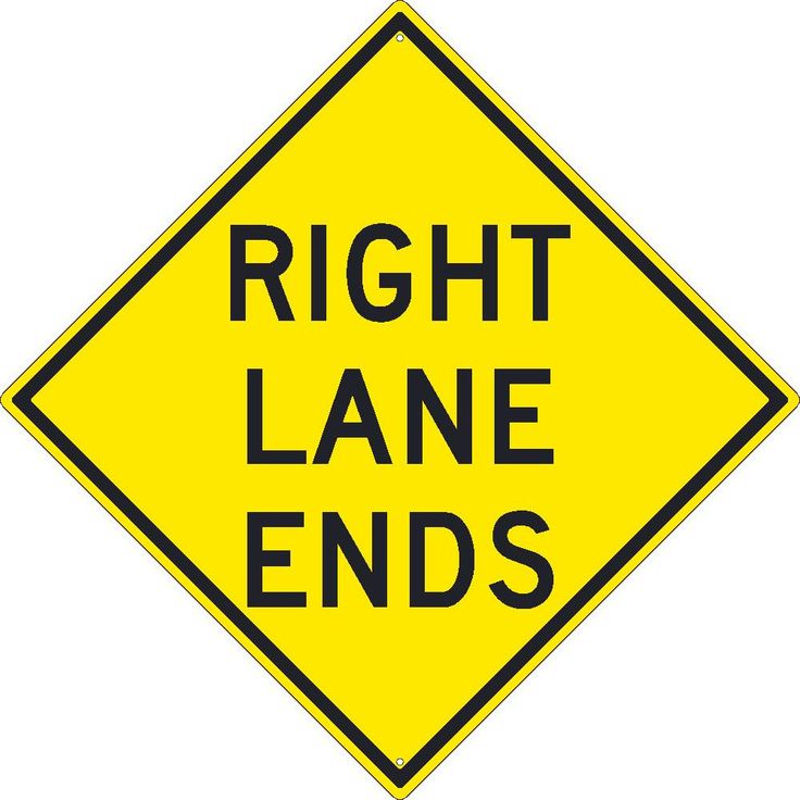 "Right Lane Ends, National Marker TM258K, 30""x30"", Black On Yellow, 85 Percent Recycled .080"" High Intensity Reflective Aluminum Surface and Roadway Warning Sign With 2 Holes For Post Mounting - Each"