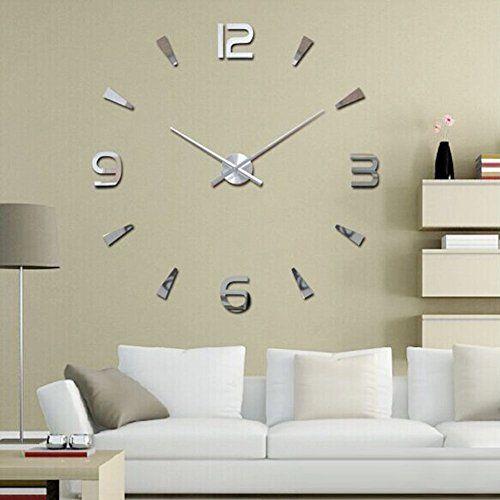 awesome yosoo ultra silent diy u reloj de pared grande d pegatina de espejo moderno adhesivo