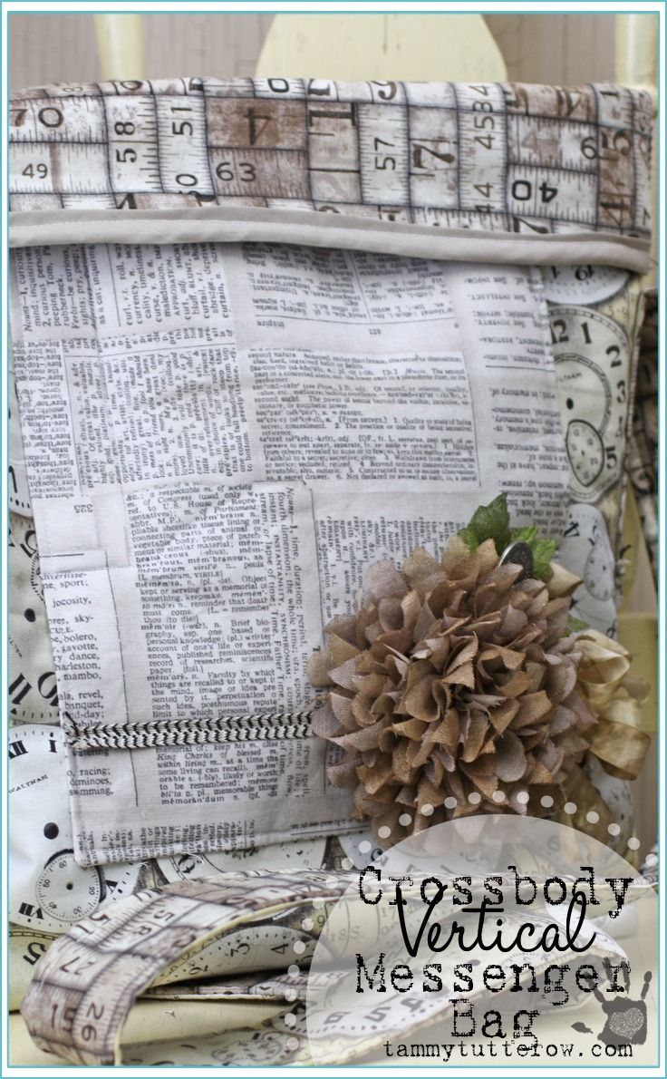 Tammy Tutterow Designs | Crossbody Vertical Messenger bag featuring Tim Holtz Eclectic Elements Fabric