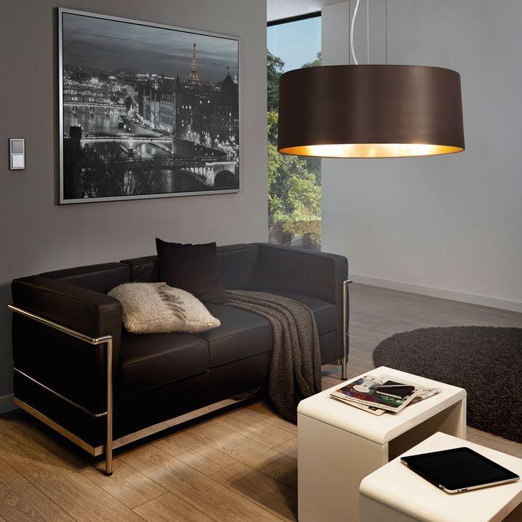 Maserlo / Hängeleuchte / Stahl Nickel-Matt Textil Cappuccino Gold 40485