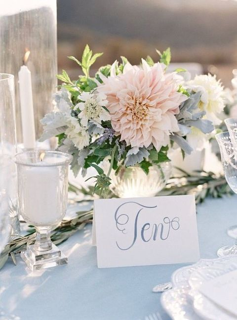 Dusty blue and blush is a very delicate and subtle combo perfect for any wedding as pastels are the hottest trend now.
