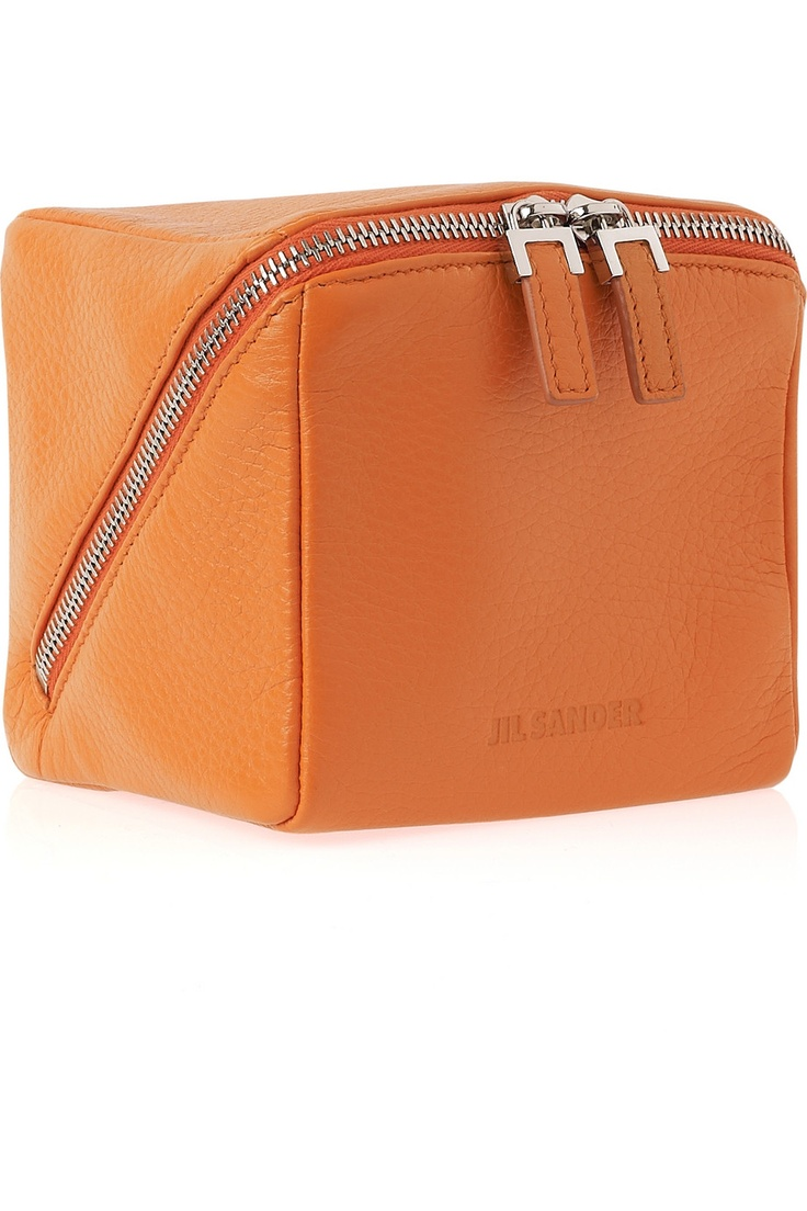 JIL SANDER, SS11 SQUARE CASE: it's a cube! of orange #leather! i wonder if you could attach a chain to the zipper pulls... #jil_sander