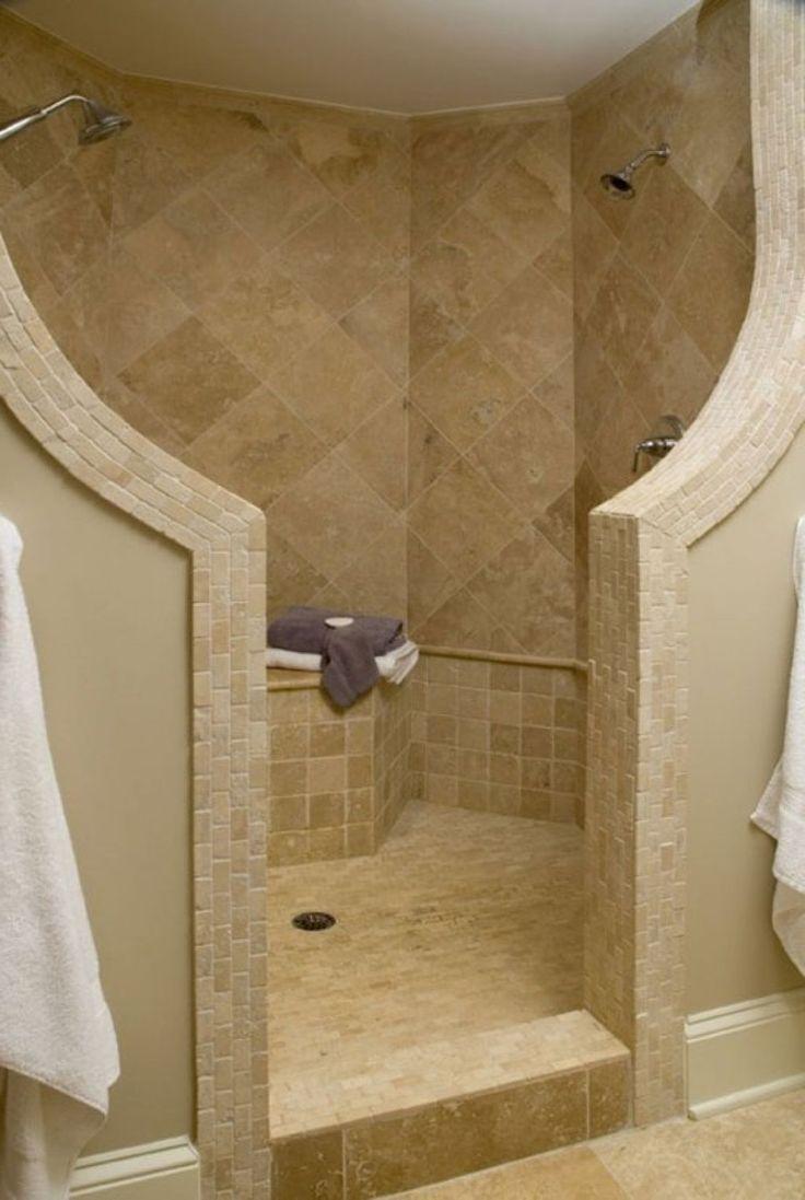 Bathroom  Ideas of Doorless Walk in Shower for Small