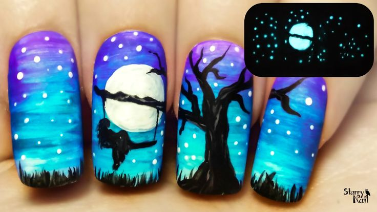 A Tree Swing at Midnight ⎮ Freehand Nail Art Tutorial