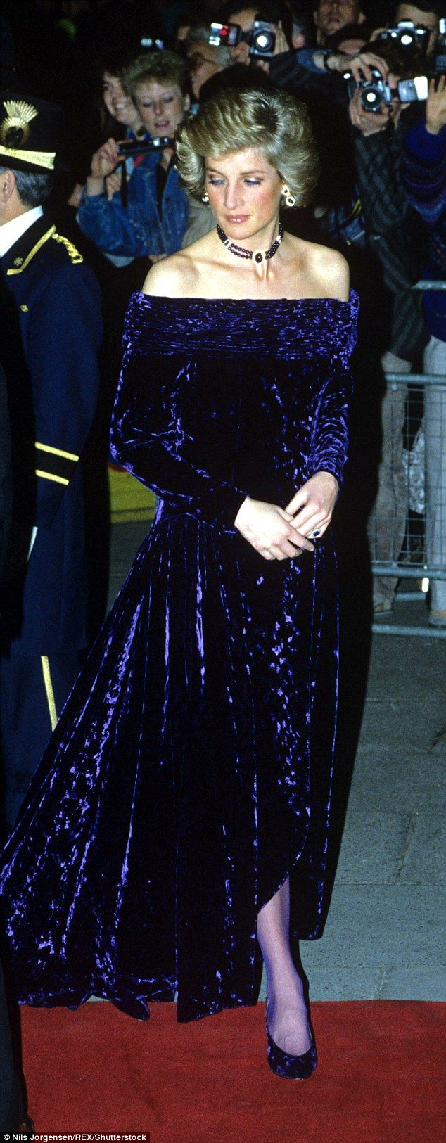 Three rare gowns from Princess Diana's wardrobe have been sold at auction in London, including a purple velvet Bruce Oldfield dress she wore in Portugal in 1987