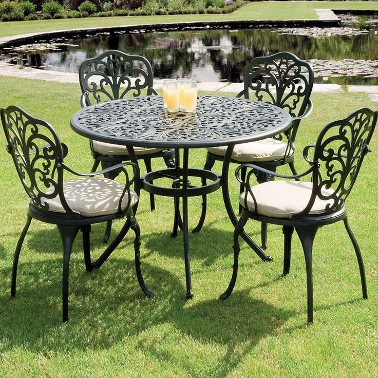 metal garden dining set black cast aluminium 5 piece table chair patio furniture - Garden Furniture Table And Chairs