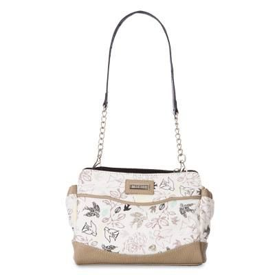 """Hope Feminine and delicate, the Hope (dove) for Petite Bags adds a sweet, inspiring touch to casual outfits. Dove silhouettes in black and tan fly through leafy branches against a white cotton sky. She also features taupe pebble-grained faux leather in all the right places. The word """"Hope"""" scattered subtly among the birds is the perfect finishing touch for this enchanting Shell. End pockets."""
