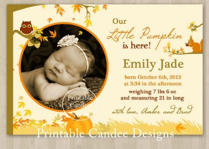 25 Adorable Fall Birth Announcements from Etsy