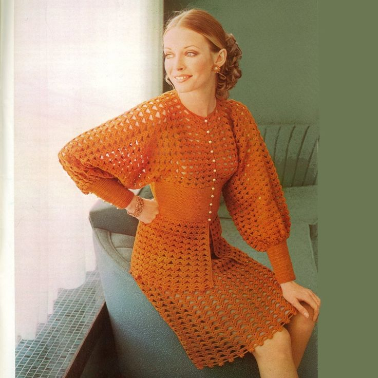 "A vintage seventies pattern for a unique crocheted suit. The fitted top or jacket is made with full, deeply inset, batwing style sleeves and a deep fitted waistband, both  with multi button detailing;above a lace peplum. The skirt is ""A"" line in matching lace. PDF pattern WZ287"