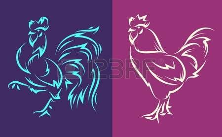 tatouage signe zodiaque: illustration du style coq de tatouage. Nouvel an 2017. Le symbole du calendrier chinois. illustration. Illustration