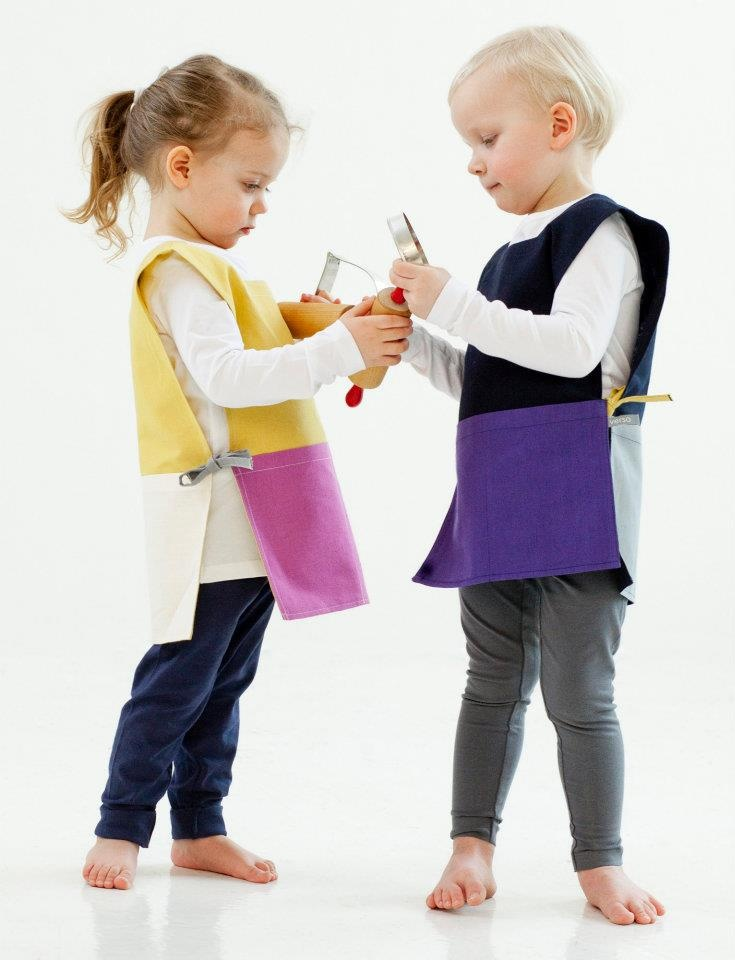 Happy Kitchen Aprons for Kids, linen/cotton