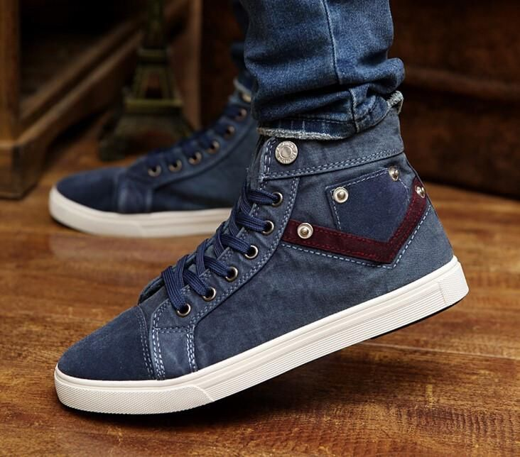 High Quality Denim Canvas Male Shoes Sneakers Men Fashion Mens Canvas Shoes High Top Sneakers Fashion