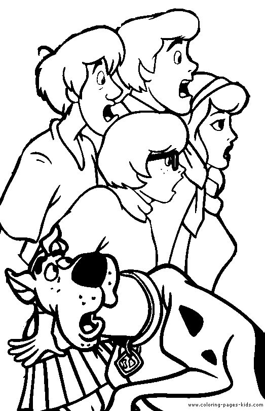 Scooby Doo Color Page Cartoon Characters Coloring Pages Plate Sheetprintable