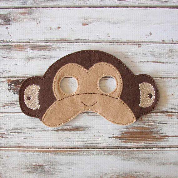 Máscara de mono Animal fieltro niños máscara por AnnsCraftHouse