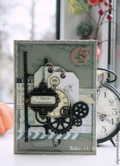 """Открытки для мужчин, ручной работы. Ярмарка Мастеров - ручная работа Мужская открытка """"45"""". Handmade."""