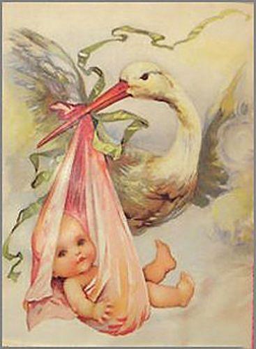 Darling Vintage Stork with Baby Shabby Waterslide Decals   eBay