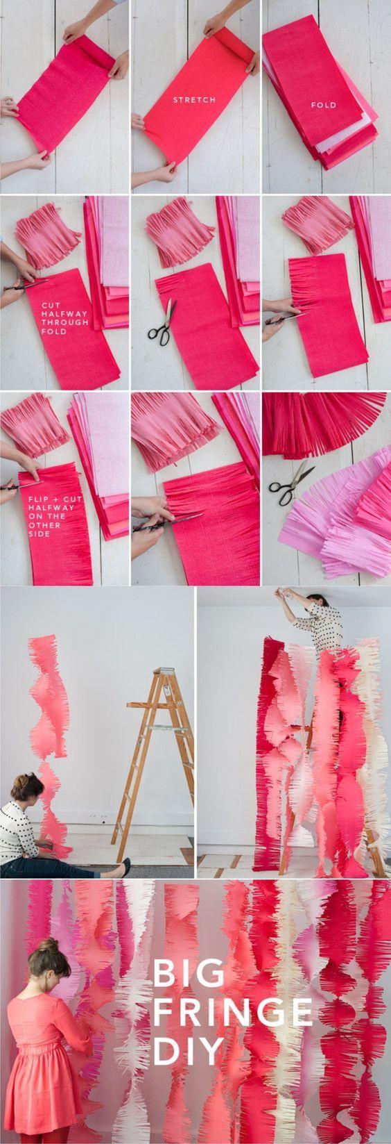 Decoración DIY fiestas papel crepé - ohhappyday.com - Big Fringe DIY: