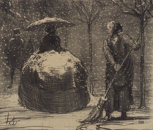 The crinoline in winter Honore Daumier: