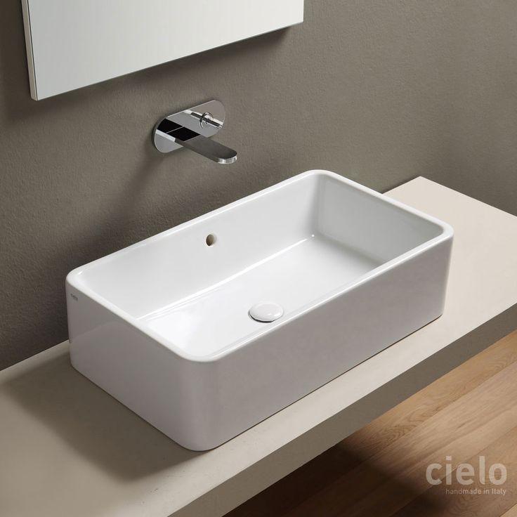 Lavabo da appoggio rettangolare 75 Bianco Shui - Lavabo Bianco da bagno Ceramica Cielo