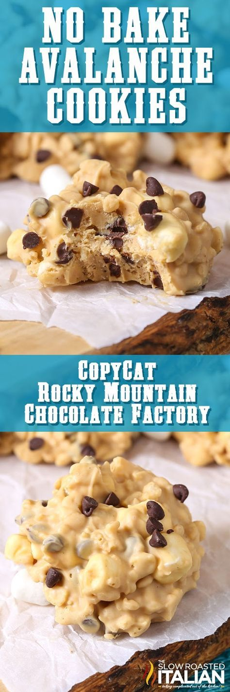 No-Bake Avalanche Cookies are a simple make-at-home copycat recipe with just 5 ingredients. Have you ever had the pleasure of enjoying the Avalanche Bark at Rocky Mountain Chocolate Factory? Imagine creamy peanut butter fudge speckled with Rice Krispies, fluffy marshmallows and chocolate chips. It's the ultimate treat. A creamy, fudgy, crunchy, peanut buttery treat that has the right touch of chocolate and is perfectly sweet! Hurry, you probably have everything you need to make this...