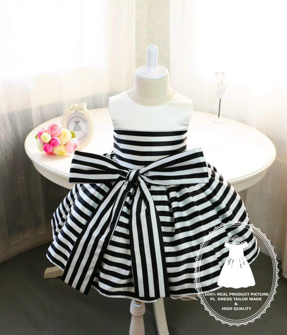 Newborn Girl Dress with Black and White Stripes Baby by PLdress